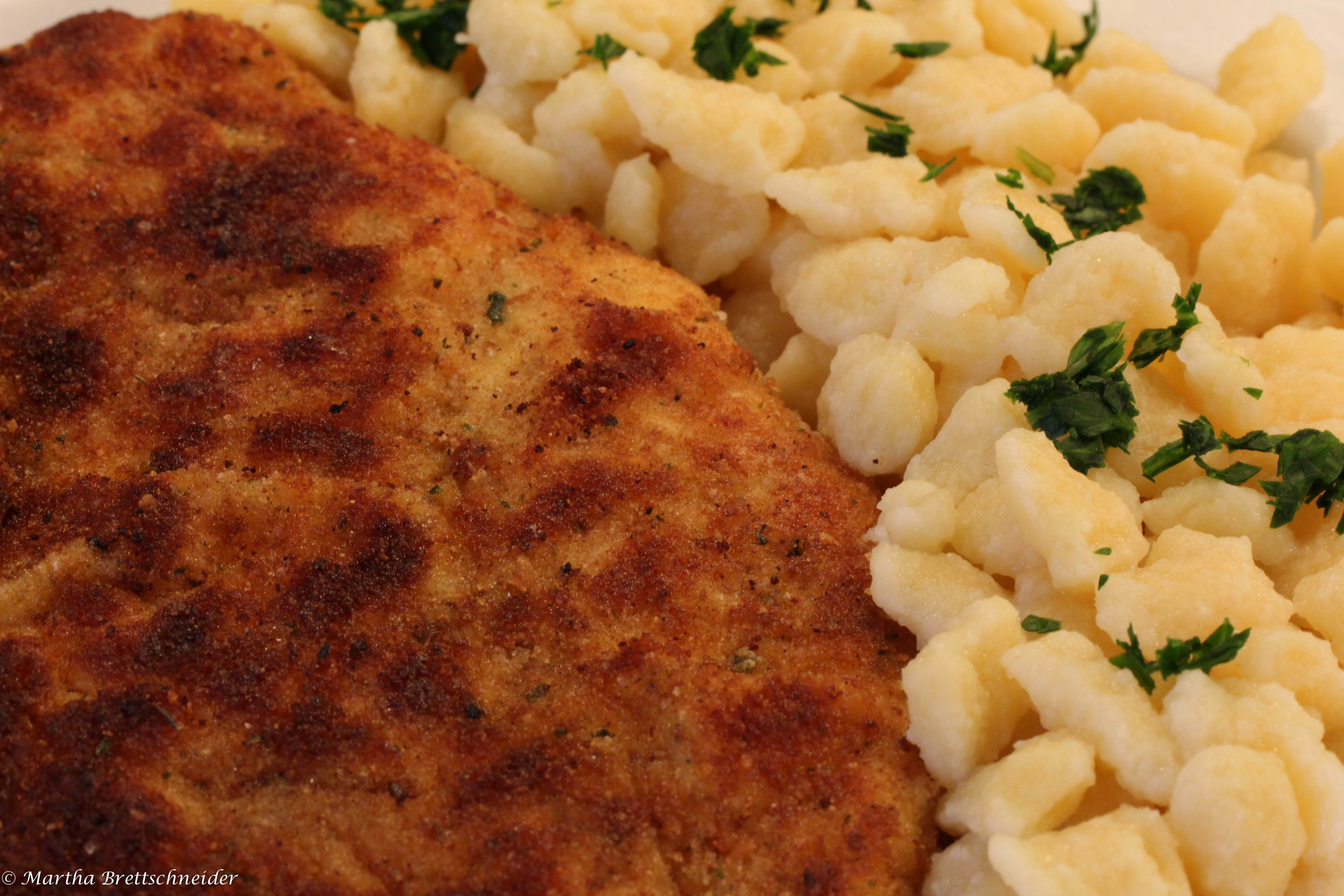 schnitzel with noodles